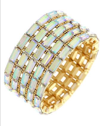 AB Rectangle Rhinestone Stretch Bracelet