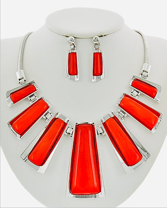 Silver & Red Necklace Set