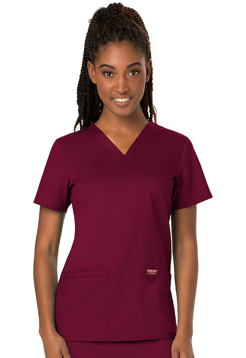 SDW - Cherokee - Workwear Revolution - Modern v-neck top - Wine