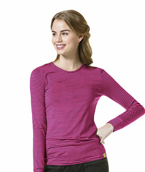 Striped Tee Wine/ Hot Pink