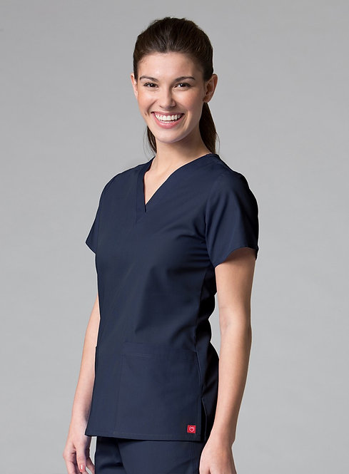 Red Panda - V-Neck Two Pocket Top - Navy