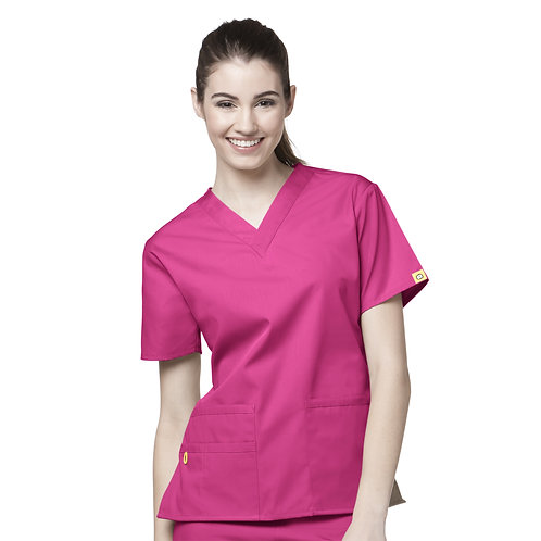 The Bravo V-neck Top TOP Hot Pink