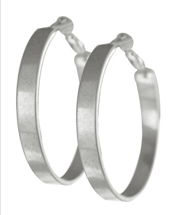 Worn Silver Hoop Earrings