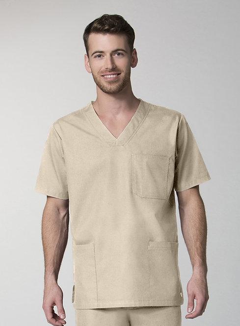 Men's 3-Pocket V-Neck Top - Khaki