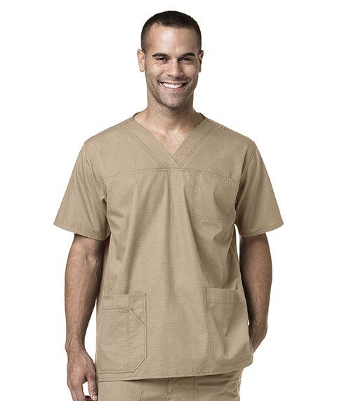 Men's Multi-Pocket Solid Scrub Top-Khaki