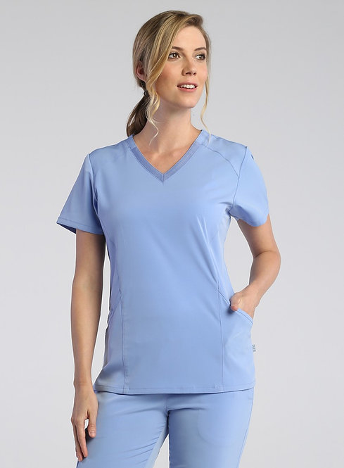Maven - PureSoft - Ladies Modern V-Neck Top   Ceil Blue