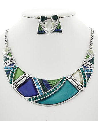 Teal, Green & Blue Round Necklace Set