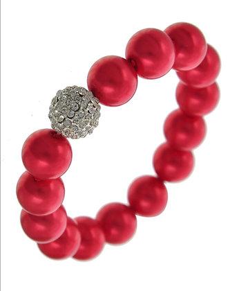 Red Bead & Rhinestone Bracelet