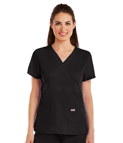 Grey's Anatomy tm-  3 Pocket Mock Wrap- Black