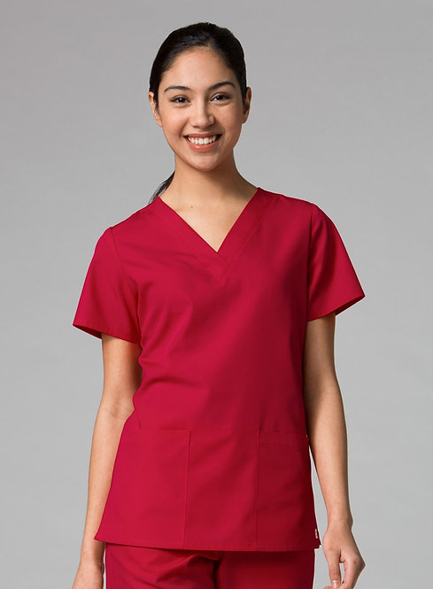 Red Panda - V-Neck Two Pocket Top - Red
