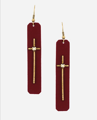 Leather & Cross Earrins