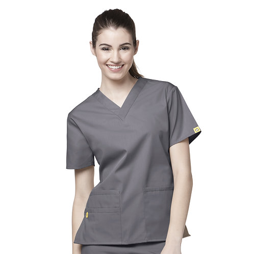 The Bravo V-neck Top TOP Pewter