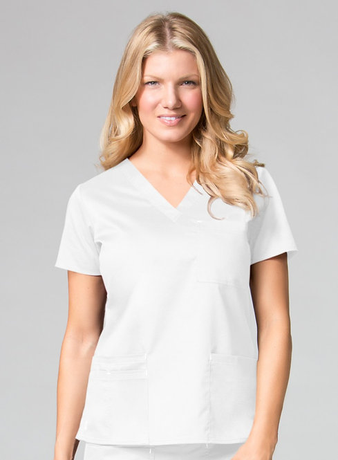 1202 [Blossom]  3 Pocket V-Neck Top White