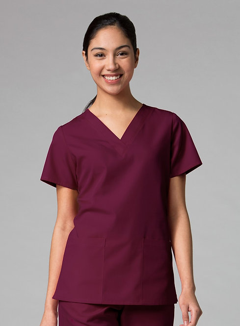 Red Panda - V-Neck Two Pocket Top -Wine