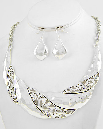 Silver Twisted Filigree Necklace Set