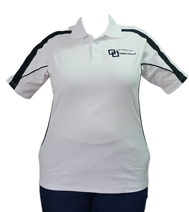 White/Navy Polo - Embroidered Logo
