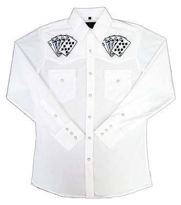 1244 White with Embroidered Royal Flush