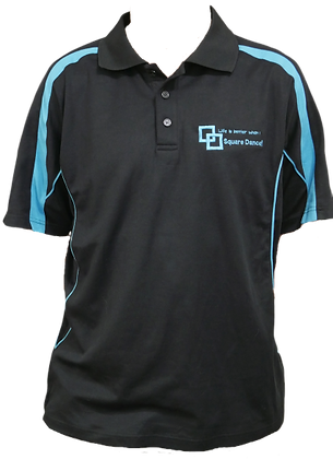 Black/Aqua Polo - Embroidered Logo