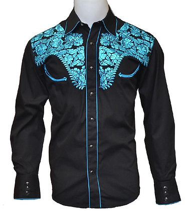 520 Black with Turquoise Embroidery & Piping