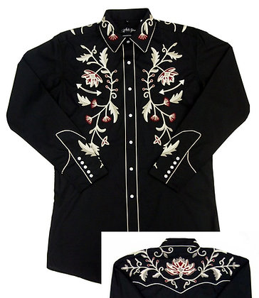 1216 Black with Embroidered Flowers