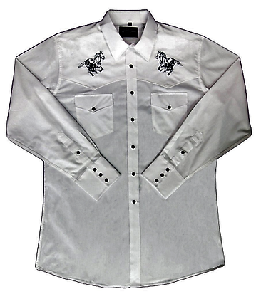 1237 White with Embroidered Black Horse