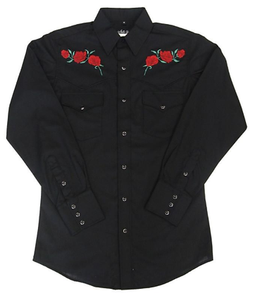 1202 Black with Embroidered Red Roses