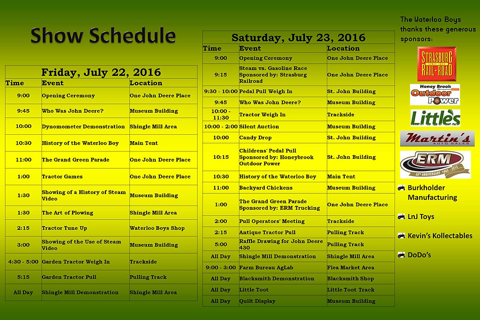 Program Details for John Deere Days 2016