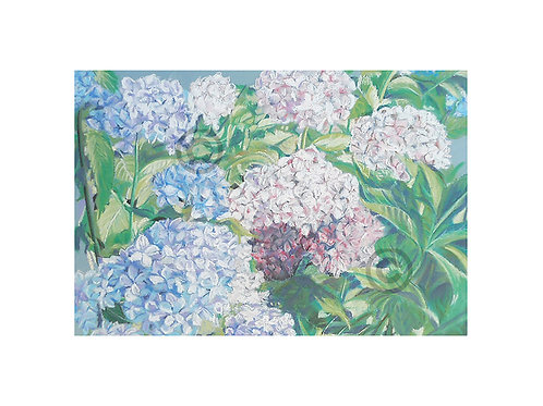 Hydrangea pastel print to fit A4 frame with mount