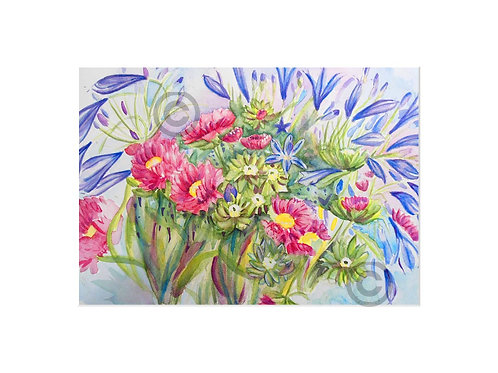 Pink Chrysanthemum to fit A4 frame with mount