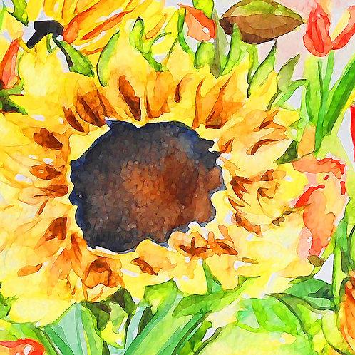 Watercolour sunflower greetings card