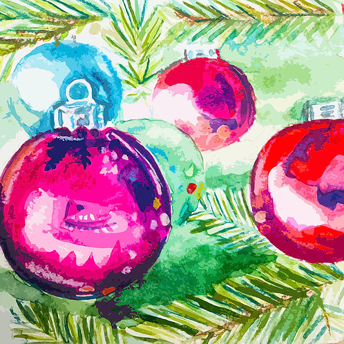 WatercolourChristmas Baubles Card