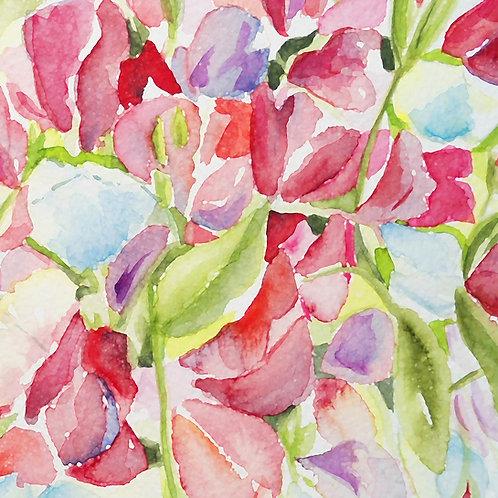 Pink Sweet Pea Watercolour Card