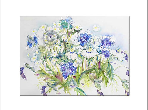 Blue Flowers fits A4 frame with mount