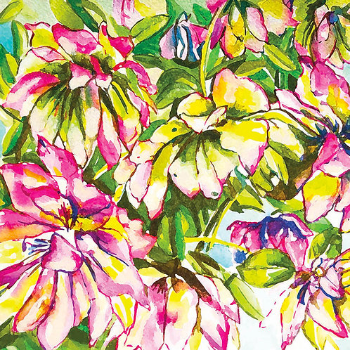 Watercolour Hellebores pink card 15mm x 15mm