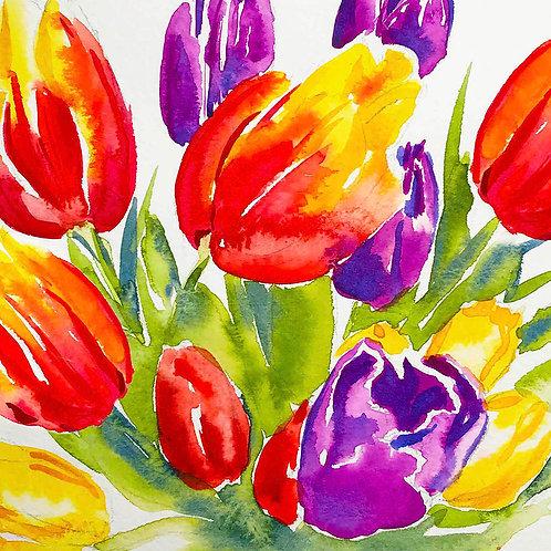 Watercolour Tulips card 15mm x 15mm