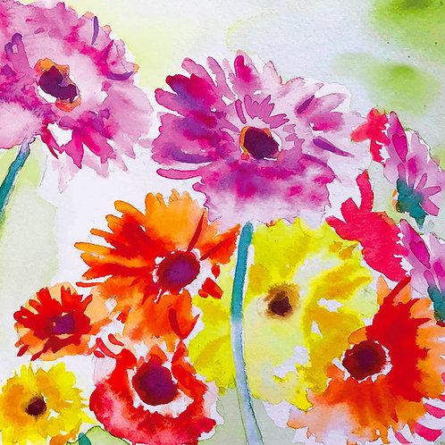 Watercolour  Gerberas card 15mm x 15mm