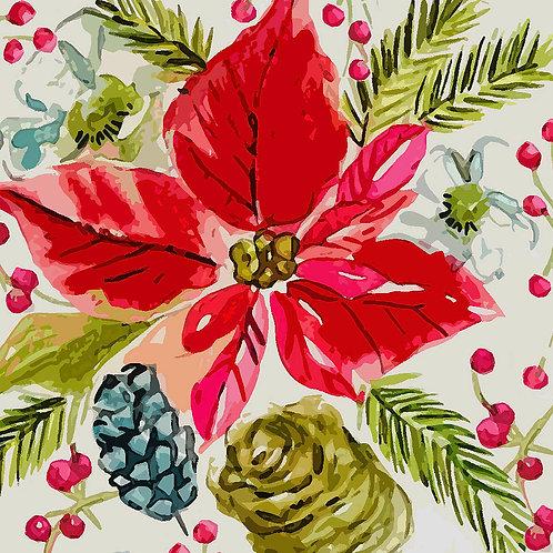 Watercolour PonsettiaChristmas Card