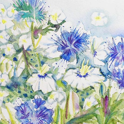 Watercolour blue floral card