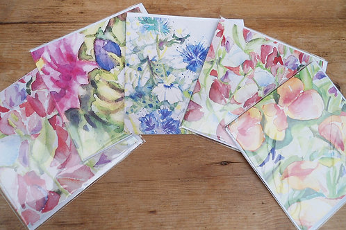 Watercolour selection x 5 cards