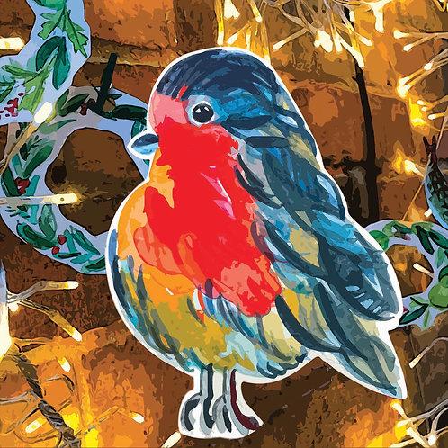 WatercolourChristmas Robin Card
