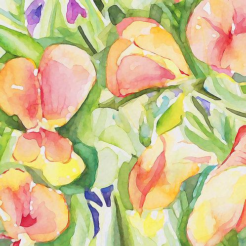Yellow Sweetpea Watercolour card