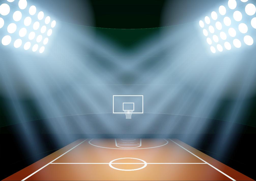 מגרש כדורסל מואר של היכל התהילה
