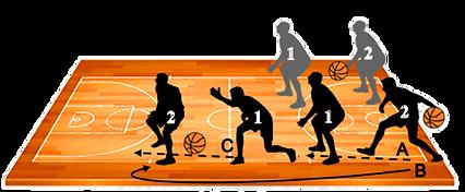 משחקון הגנה - זוגות, זה אחר זה, על קו הרוחב של המגרש. הראשון (1), במרחק 3-2 מטרים מהשני (2), ניצב בעמדת מוצא הגנתית. 2, שמאחוריו ובידו כדור (ראו איור), מגלגל אותו בין רגליו של1 (A), רץ קדימה ומתייצב בעמדת הגנה בגבו ל- 1 (B).