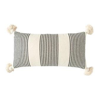 "28"" x 14"" Cotton & Chenille Woven Striped Lumbar Pillow w/ Tassels"