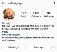 Sid Haig Admitted to Intensive Care