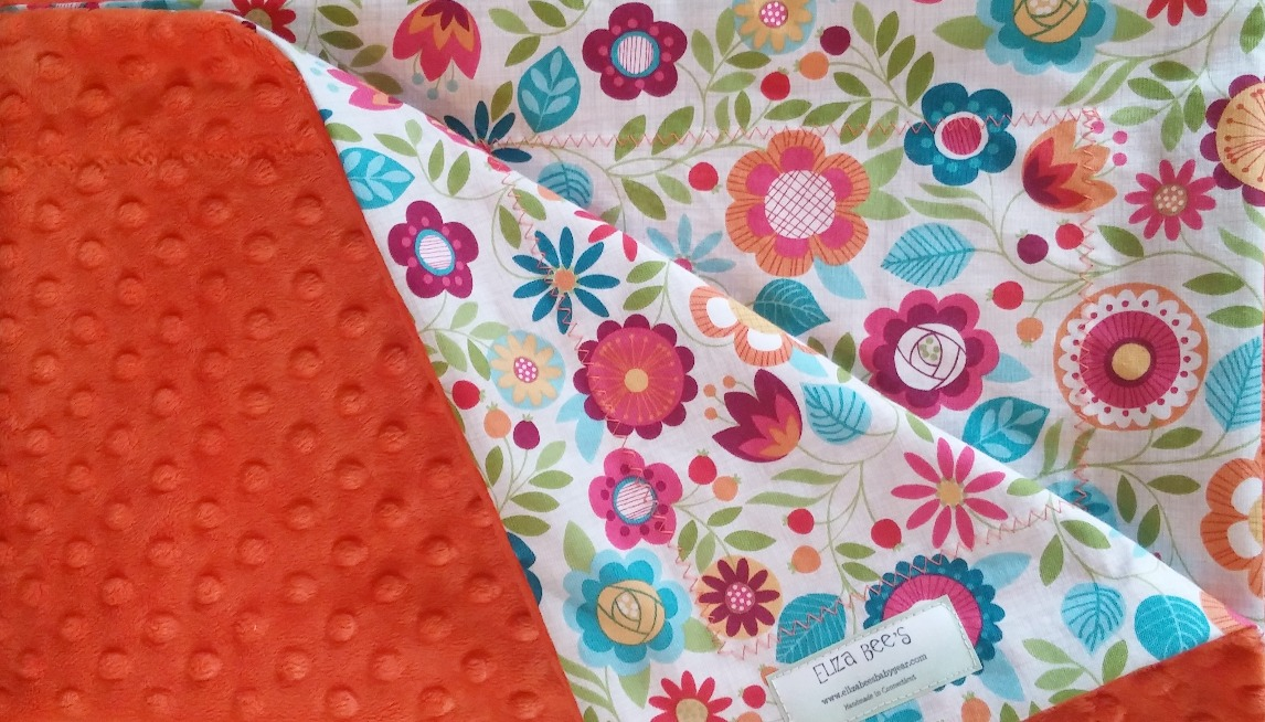 Baby blanket with flowers