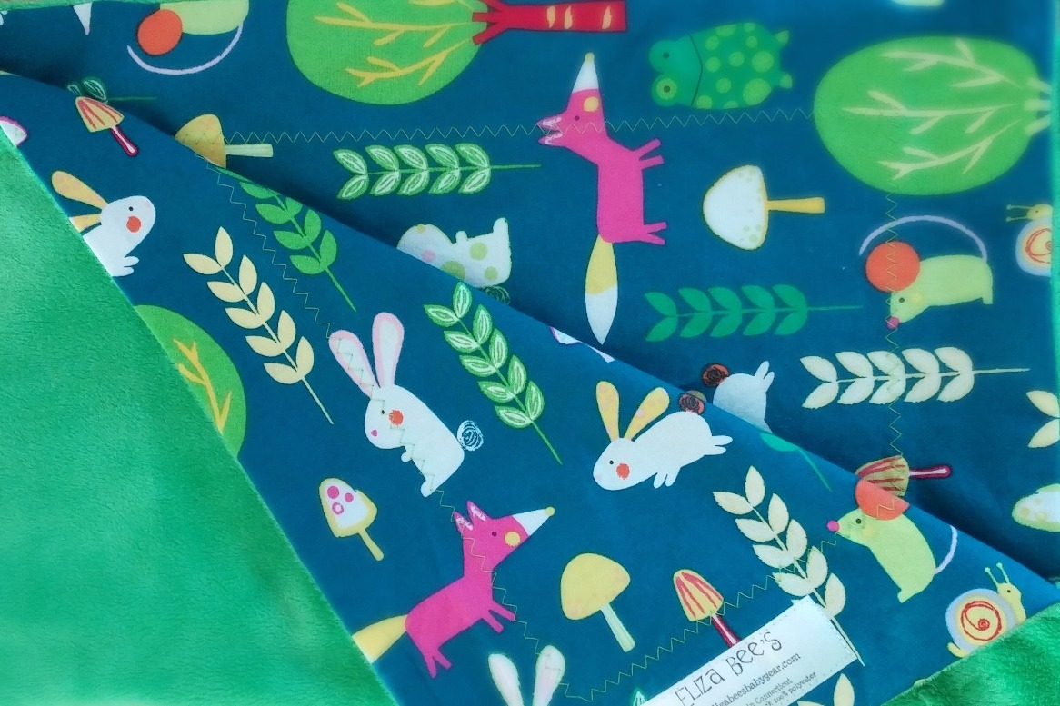 Baby blanket with woodland animals