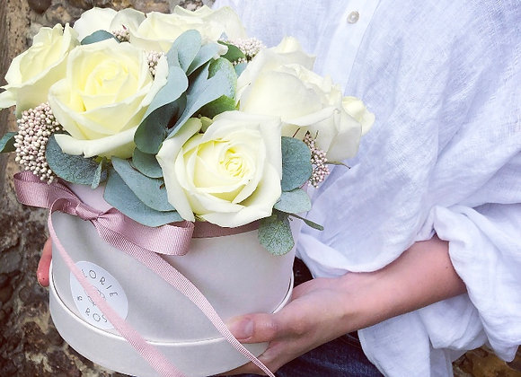 Roses and Eucalyptus Hatbox
