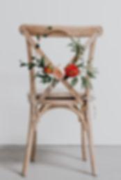 floral hoop on chair wedding flowers london