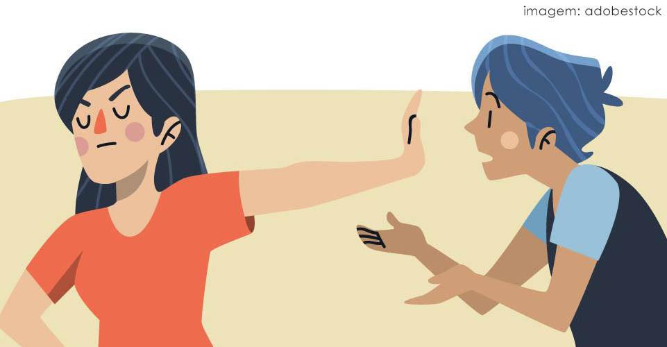 Ilustração de mulher brava com homem